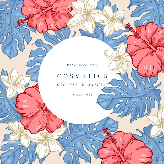 Weinlese hibiskus und plumeria blumen. blumenkranz. blumenrahmen mit etikettendesigns.
