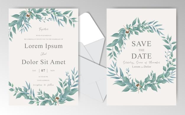 Weinlese-hochzeits-einladungs-karten-schablone mit grünen blättern und aquarell