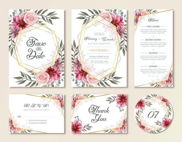 Weinlese-hochzeits-einladungs-karten-set mit aquarellblumenblumen