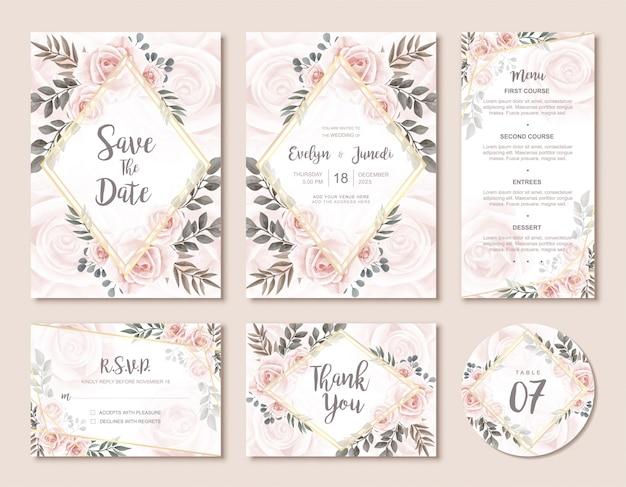 Weinlese-hochzeits-einladungs-karten-set mit schönen aquarellblumenrosen-blumen