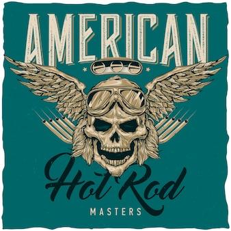 Weinlese-hot rod t-shirt etikettendesign mit illustration des fahrerschädels mit brille und flügeln. hand gezeichnete illustration.