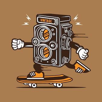 Weinlese-kamera-skater-skateboard-charakter