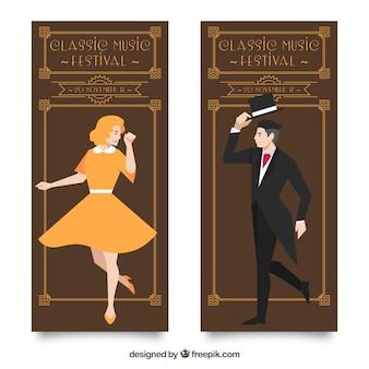 Weinlese-klassische musik-banner mit mann und frau illustration