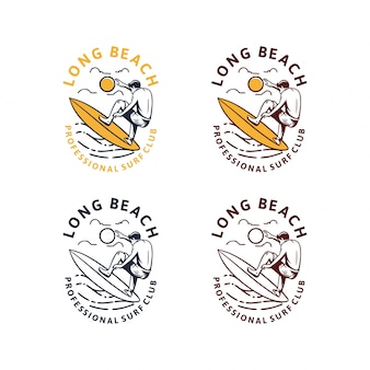 Weinlese-logosatz des long beach-surfens