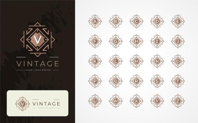 Weinlese-luxusbuchstabe logo design