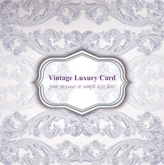 Weinlese-luxuskarte mit barockem verzierung vektor. abstrakte design-illustration. platz für texte