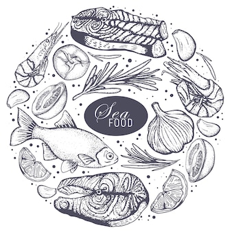 Weinlese-meeresfrüchte-rahmenvektorillustration