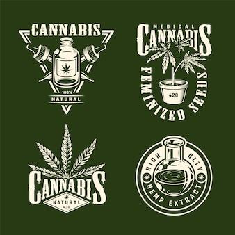 Weinlese monochrome cannabis-etiketten, die mit hanfölpipetten-marihuana-pflanzen lokalisierte vektorillustration gesetzt werden