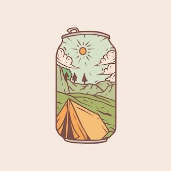 Weinlese-monoline-lagerillustration
