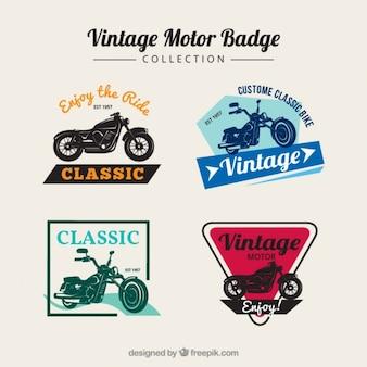Weinlese-motorrad-abzeichen in farben