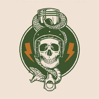 Weinlese-motorrad-logo-entwurf