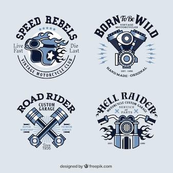 Weinlese-motorrad-logo-sammlung