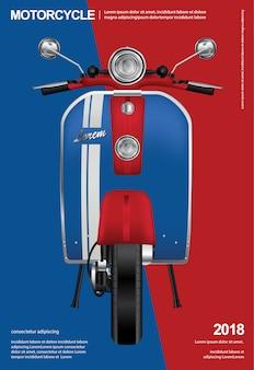 Weinlese-motorrad lokalisierte illustration