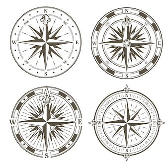 Weinlese nautischer kompasszeichen-vektorsatz