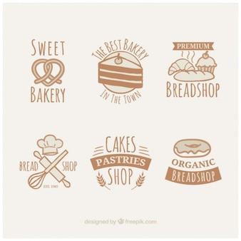 Weinlese nette hand gezeichnete bäckerei abzeichen