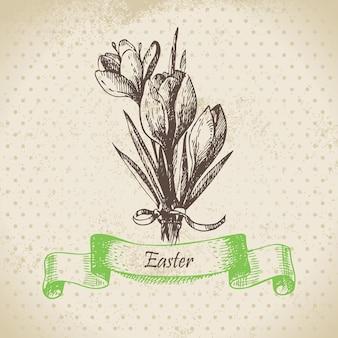 Weinlese-ostern-hintergrund mit krokusblüten. handgezeichnete abbildung