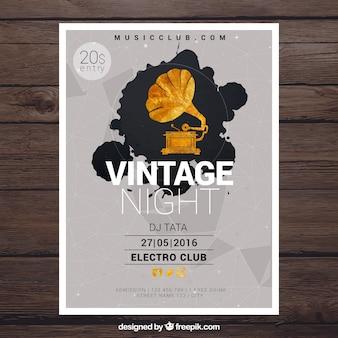 Weinlese-plakat für eine nacht party