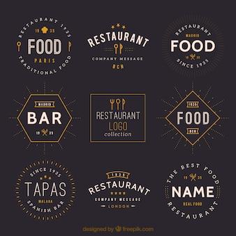 Weinlese-restaurant-zeichen-ansammlung