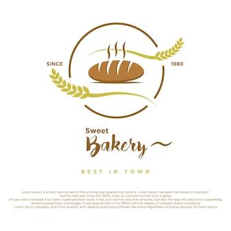 Weinlese-retro-bäckerei-vektor-design-süßes bäckerei-logo mit weizenvektorillustration