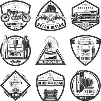 Weinlese-retro-etiketten mit motorradauto-pistolenhut gentleman-frau schreibmaschine grammophon zigaro kamera telefon glas whisky isoliert