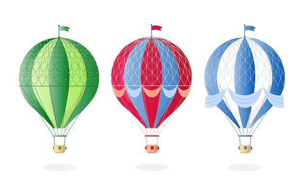 Weinlese-retro-heißluftballon mit korb im himmel lokalisiert auf hintergrund.