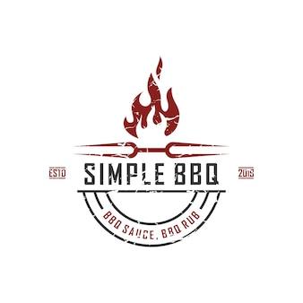 Weinlese-retro- landschaft bbq-grill, aufkleber-stempel-logo-designvektor