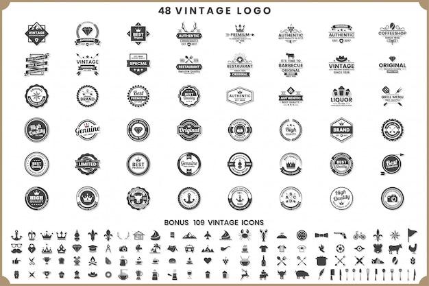 Weinlese-retro- vektor-logos und -ikonen
