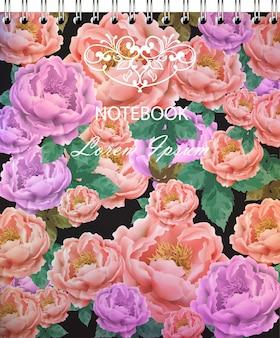 Weinlese-rosen-blumennotizbuchabdeckung vektor-retro- schöne blumensträuße