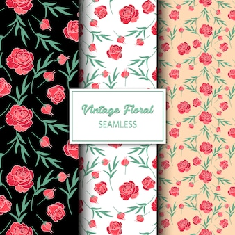 Weinlese-rote rosen-nahtloses muster-design