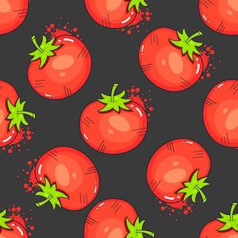 Weinlese-rote tomaten auf nahtlosem muster-vektor