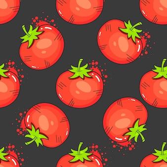 Weinlese-rote tomaten auf nahtloser muster-vektor-illustration