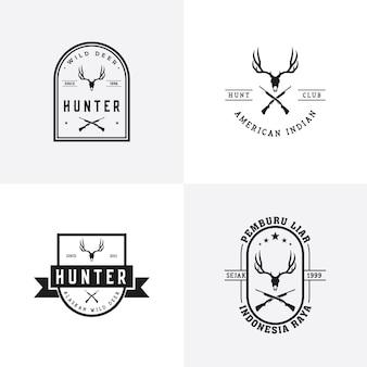 Weinlese-rotwild hunter logo design set