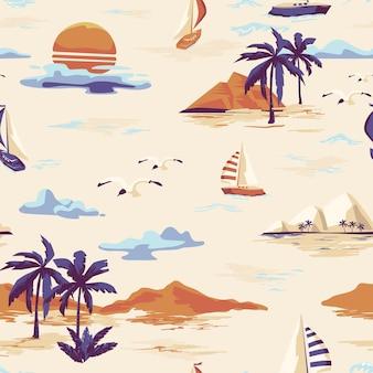 Weinlese schönes nahtloses inselmuster auf weißem hintergrund. landschaft mit palmen, yacht, strand und ozean vektor handgezeichneten stil