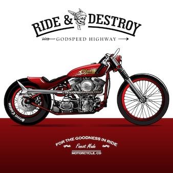 Weinlese-srambler motorrad-plakat