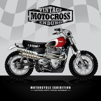 Weinlese-srambler-motorrad-plakat