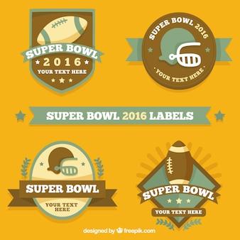 Weinlese-super bowl-etiketten in flache bauform