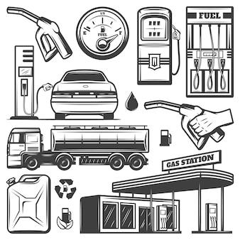 Weinlese-tankstellenikonen-sammlung mit gebäudekanisterauto, das benzin-kraftstoff-lkw-kraftstoffpumpendüsen nachfüllt, isoliert
