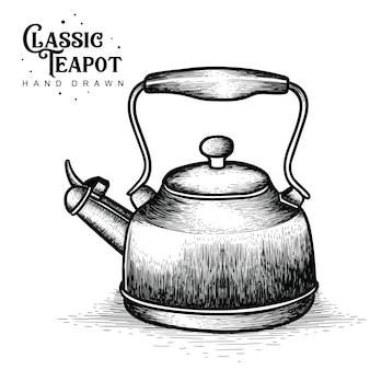 Weinlese-teekannen hand gezeichnet