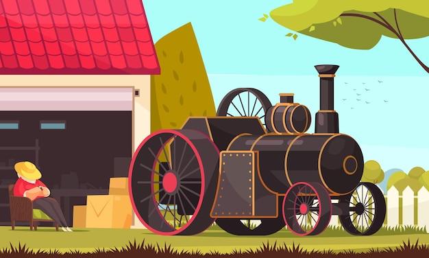 Weinlese-transportzusammensetzung mit außenlandschaft und dampfmaschinenauto mit riesigen rädern und lokomotive kochen