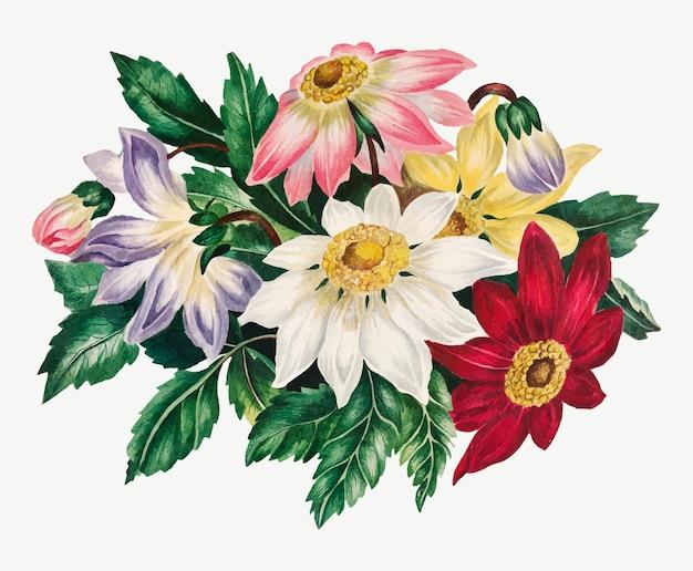 Weinlese-valentinstag-blumenillustration