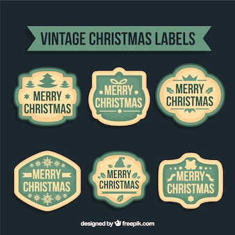 Weinlese-weihnachten-etiketten-sammlung