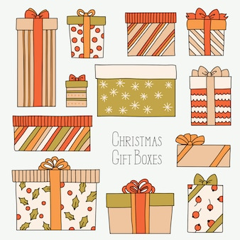 Weinlese-weihnachten oder geburtstag eingestellt mit geschenkboxen Premium Vektoren