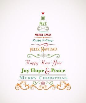 Weinlese-weihnachtsbaum mit text- und schriftrollenelementen