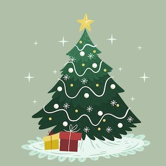 Weinlese-weihnachtsbaumkonzept