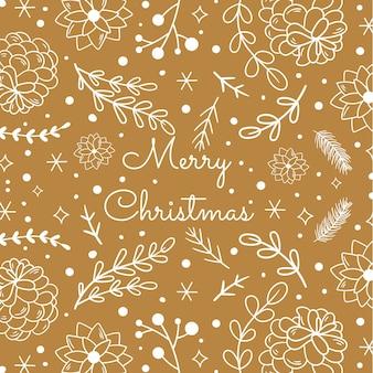 Weinlese-weihnachtselemente mit nahtlosem bildhintergrund des textes. vektor-illustration