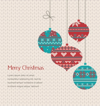 Weinlese-weihnachtsgrußkarte mit gestrickten verzierungen