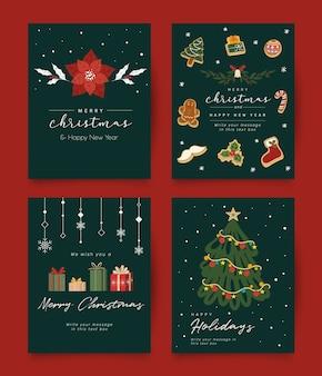 Weinlese-weihnachtsgrußkarten-sammlung