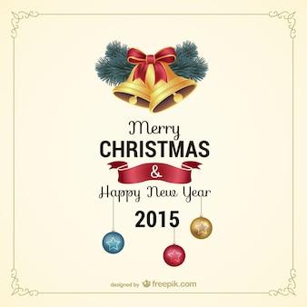 Weinlese-weihnachtskarte mit glocken