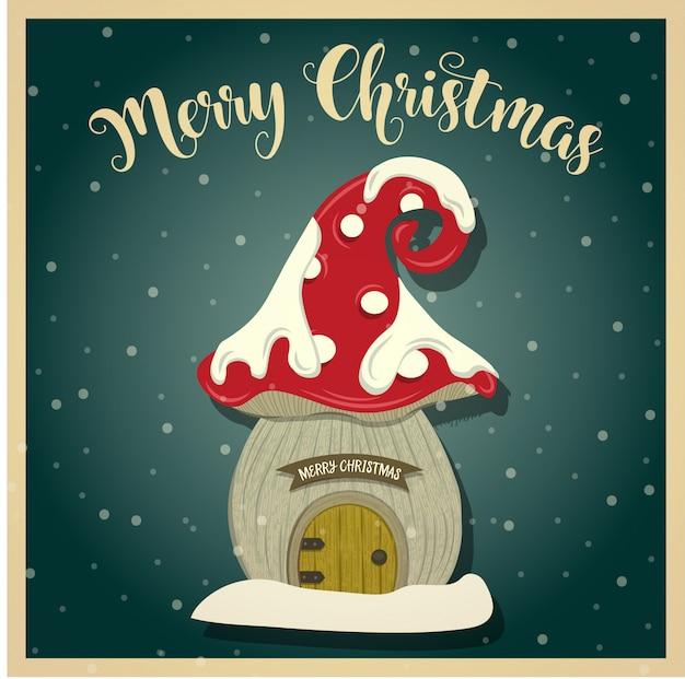 Weinlese-weihnachtskarte mit gnomenhaus. drucken. vektor