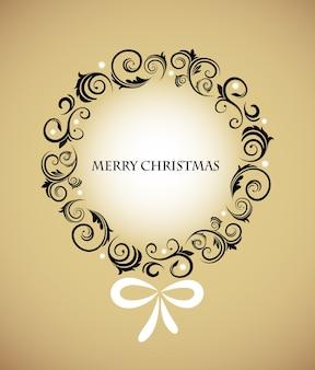 Weinlese-weihnachtskranz mit einer retro-verzierung auf einem goldenen hintergrund